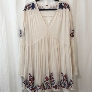 Free People Embroidered Bell Sleeve Mini Dress